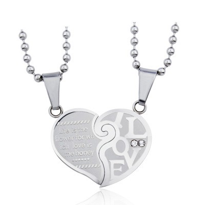 Tinnivi Titanium Steel Necklace Sets Love Heart Shape Pendant With Chain For Couples
