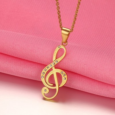 Tinnivi Gold Plated Titanium Steel Musical Note Pendant Chain Necklace