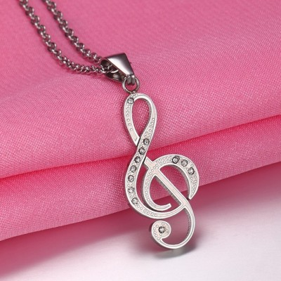 Tinnivi Silver Color Titanium Steel Musical Note Pendant Chain Necklace