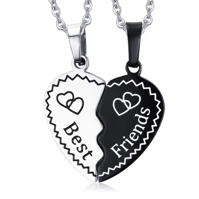 Tinnivi 2 Pieces Half Love Heart Titanium Steel Pendant Best Friends Necklace