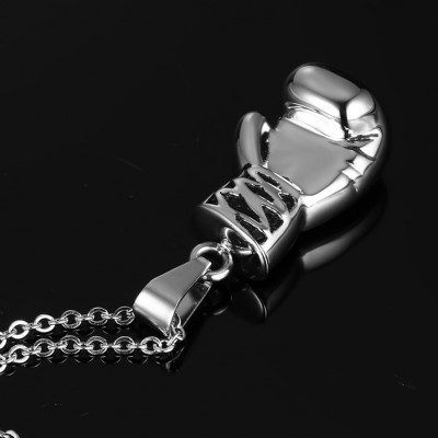 Tinnivi Silver Color Titanium Steel Boxing Style  Pendant Necklace For Men