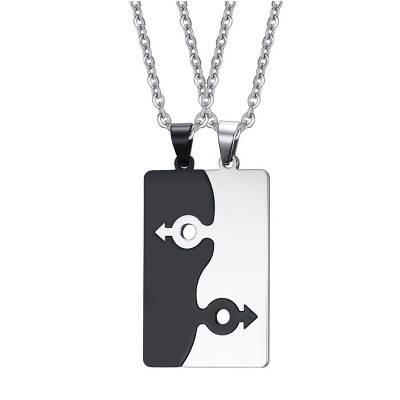 Tinnivi Fashion Titanium Steel Jigsaw Necklace Pendant For Couples