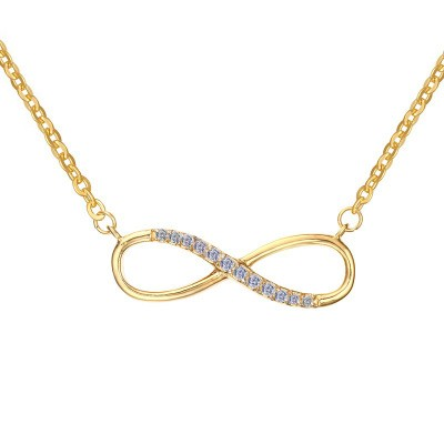 Tinnivi Gold Plated Titanium Steel Classic Infinity Womens Necklace