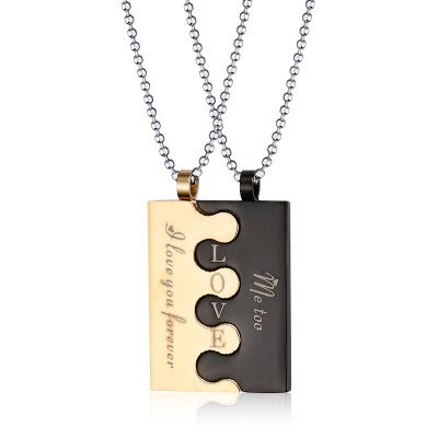 Tinnivi Fashion Gold And Black Titanium Steel Jigsaw Necklace Pendant For Couples