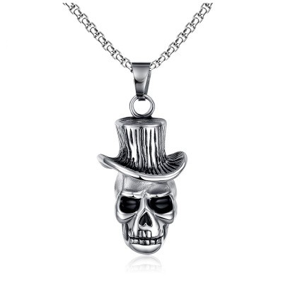 Tinnivi Titanium Stainless Skull with Cowboy Top Hat Biker Punk Style Pendant Necklace For Men