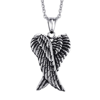 Tinnivi Retro Wings Titanium Steel Pendant Necklace Chain for Men