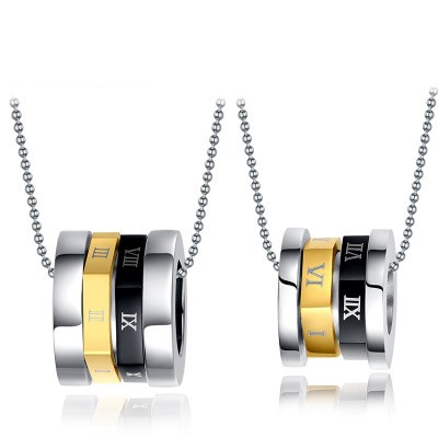 Tinnivi His and Hers Titanium Steel Roman Numerals Rings Pendant Necklaces for Couples