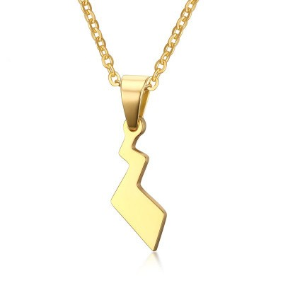 Tinnivi Gold Plated Titanium Steel Pokemon Pikachus Tail Pendant Necklace