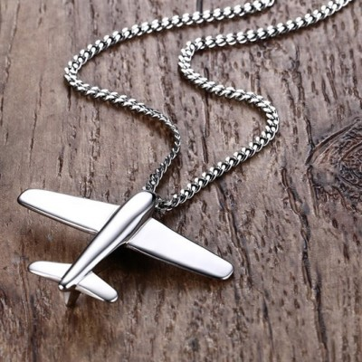 Tinnivi Paper Airplane Silver Color Titanium Steel Pendant Necklace