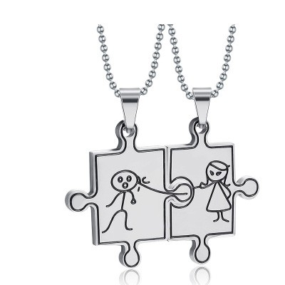 Tinnivi Titanium Steel Cartoon Boy and Girl Jigsaw Pendant Lovers Couples Necklace