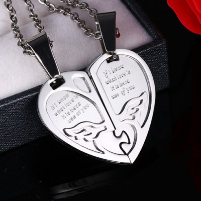 Tinnivi Titanium Steel Heart Jigsaw Pendant Lovers Couples Necklace