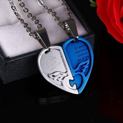 Tinnivi Blue Titanium Steel Heart Jigsaw Pendant Lovers Couples Necklace