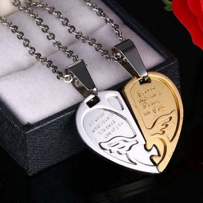 Tinnivi Heart Jigsaw Gold Titanium Steel Pendant Lovers Couples Necklace