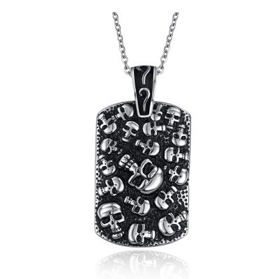 Tinnivi Punk Style Skull Black Titanium Steel Pendant Necklace