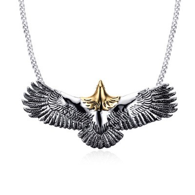 Tinnivi Eagle Titanium Steel Pendant Mens Necklace