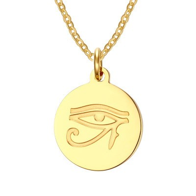 Tinnivi Gold Plated Titanium Steel Eye Of Horus Necklace