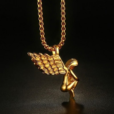 Tinnivi Titanium Steel Gold Plated Angels Wings Pendant Necklace