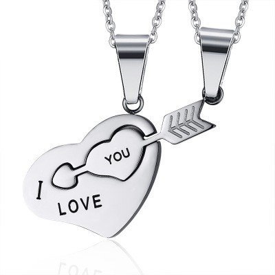 Tinnivi Cupids Arrow Heart Puzzle Titanium Steel Pendant Couples Necklace