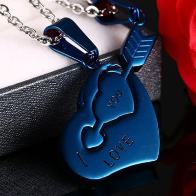 Tinnivi Titanium Blue Steel Cupids Arrow Heart Puzzle Pendant Couples Necklace