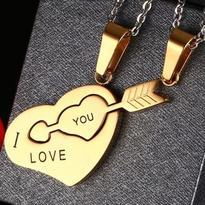 Tinnivi Gold Plated Titanium Steel Cupids Arrow Heart Puzzle Pendant Couples Necklace