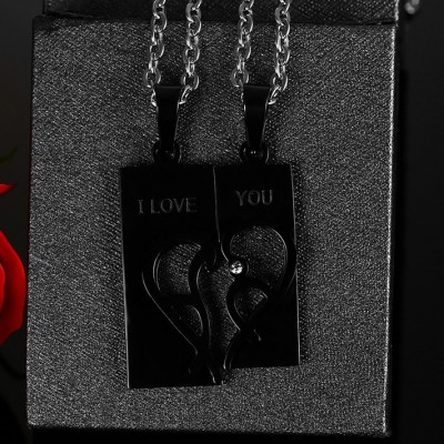 Tinnivi Created White Sapphire Black Titanium Steel Heart Jigsaw Necklace For Couples