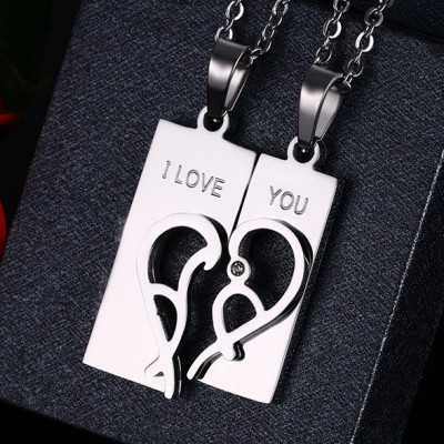 Tinnivi Silver Color Titanium Steel Created White Sapphire Heart Jigsaw Necklace For Couples