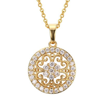 Tinnivi Gold Plated Titanium Steel Created White Sapphire Sun Flower Pendant Necklace