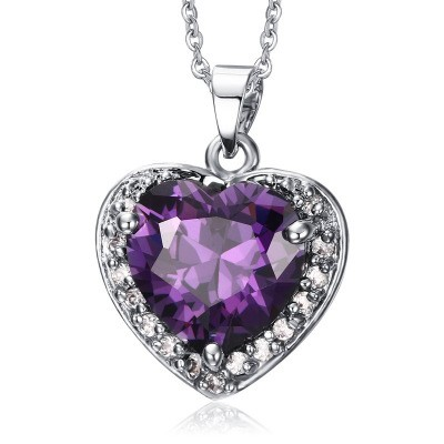 Tinnivi Heart Cut Created Amethyst Titanium Steel Pendant Necklace