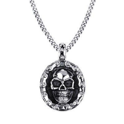 Tinnivi Gothic Skull Titanium Steel Biker Pendant Necklace For Men