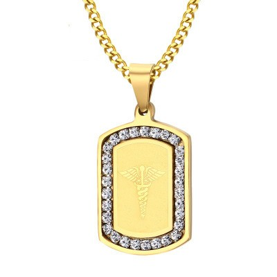 Tinnivi Stylish Gold Titanium Steel Created White Sapphire Pendant Necklace For Men