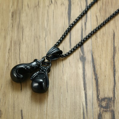 Tinnivi Punk Black Titanium Steel Boxing Gloves Chain Pendant Necklace For Men