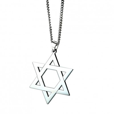 Tinnivi Silver Color Titanium Steel Simple Hollow Out Hexagram Pendant Necklace For Men