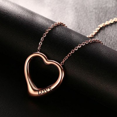 Tinnivi Rose Gold Plated Titanium Steel Love Hollow Out Heart Pendant Necklace For Women