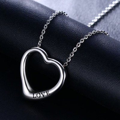 Tinnivi Titanium Steel Love Hollow Out Heart Pendant Necklace For Women