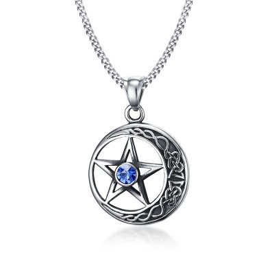 Tinnivi Titanium Steel Hollow Out Pentagram And Moon With Created Sapphire Pendant Necklace For Men