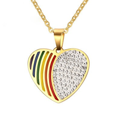 Tinnivi Half Rainbow Half Craeted White Sapphire Gold Titanium Steel Pendant Necklace For Women