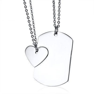 Tinnivi Titanium Steel Personalized Matching Heart Tag Pendant Necklace For Couples