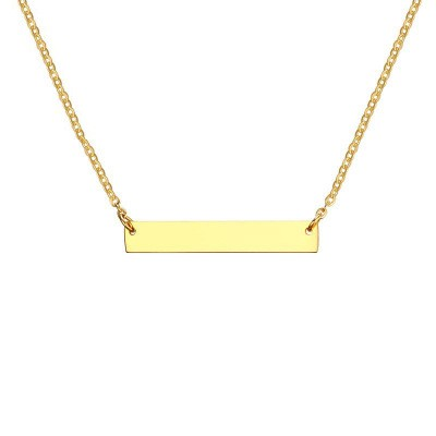 Tinnivi Personalized Gift Gold Plated Rectangle Initial Horizontal Bar Necklace for Women