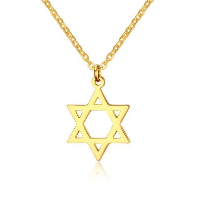 Tinnivi Gold Titanium Steel Simple Hollow Out Hexagram Pendant Necklace For Women
