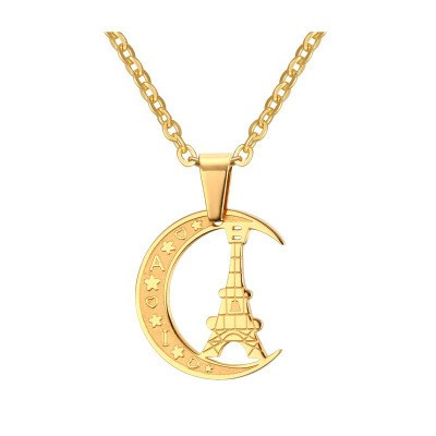 Tinnivi Gold Titanium Steel New Crescent Moon Tower Heart Charm Pendant Necklace