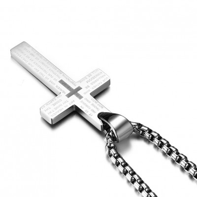 Tinnivi Silver Color Titanium Steel Simple Cross Pendant Lords Prayer Necklace For Men