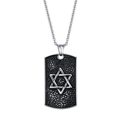 Tinnivi Vintage Gothic Titanium Steel Silver Black Hexagram Tag Pendant Necklaces For Men
