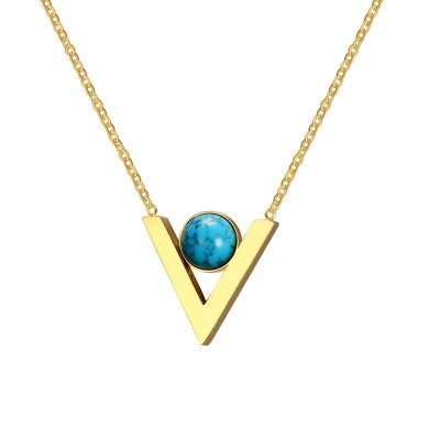 Tinnivi Gold Titanium Steel V Shape With Created Calaite Pendant Necklaces For Women