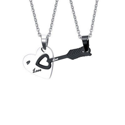 Tinnivi Black And Silver Titanium Steel Hollow Out Love Heart With Arrow Pendant Necklaces For Couples