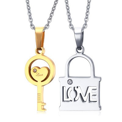 Tinnivi Silver And Gold Titanium Steel Key And Lock Valentine Pendant Necklace For Couples