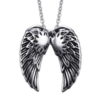 Tinnivi Vintage Angels Wings Titanium Steel  Pendant Necklace For Men