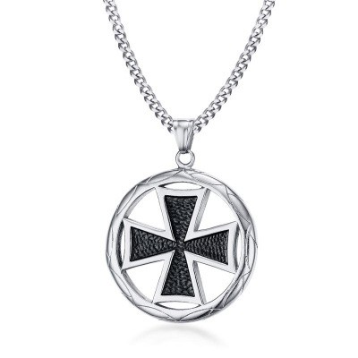 Tinnivi Fashion Titanium Steel Malta Pendant Necklace For Men