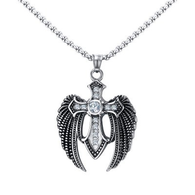 Tinnivi Titanium Steel Retro Wings Cross Feather With Created White Sapphire Pendant Necklace For Men
