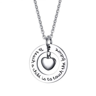 Tinnivi Titanium Steel To Teach A Child Is To Touch The Future Teacher Gift Love Heart Double Pendant Necklace