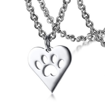 Tinnivi Titanium Steel Heart Hollow Out Dog Claw Pendant Necklace For Women